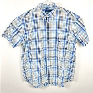 Nautica sanded poplin button down shirt plaid XXL